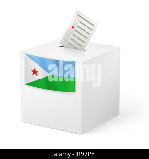 Election in Djibouti: ballot box with voting paper on white background - Stock Photo