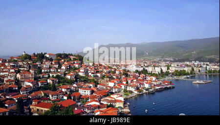 aerial view of unesco listed town ohrid and lake ohrid in macedonia,image of a - Stock Photo
