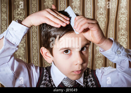 Child Vintage Clothes Decided His Hair Stock Photo 277468659 Alamy