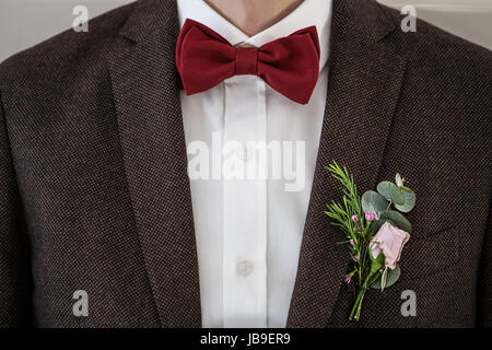 Tie Butterfly close-up. Wedding groom suit - Stock Photo