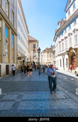 Prague, Czech Republic. May 28, 2017.- People walking on the street called celetna - Stock Photo