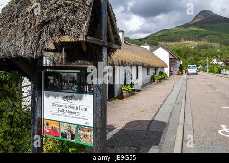 Glencoe & North Lorn Folk Museum in restored cottage with thatched roof, Lochaber, Scottish Highlands, Scotland, - Stock Photo