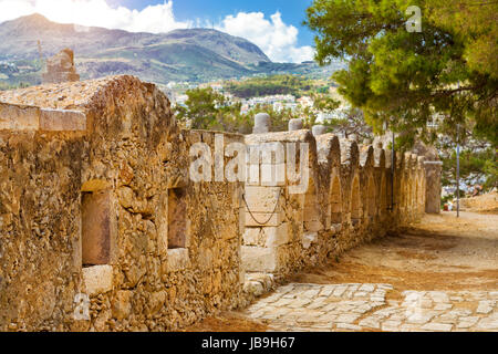 Inner courtyard & fortifications, surrounded by stone walls, Fortezza Castle - Venetian fortress with Bastion defense - Stock Photo