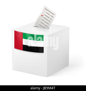 Election in United Arab Emirates: ballot box with voting paper on white background - Stock Photo