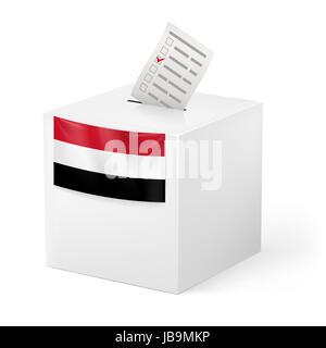 Election in Yemen: ballot box with voting paper isolated on white background - Stock Photo