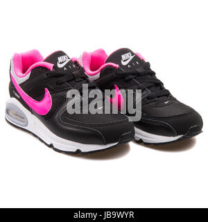 nike childrens air max command trainers red\/black background