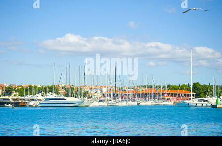 Beautiful view on yachts in Novigrad port, Croatia - Stock Photo