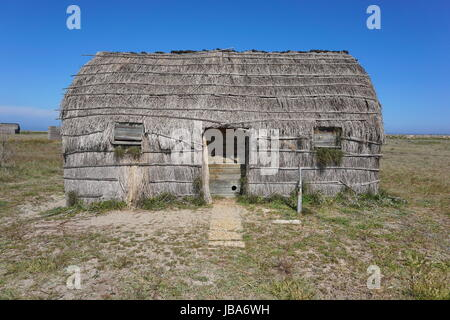 Traditional fishermen hut made from reed, Canet en Roussillon, Pyrenees Orientales, Roussillon, south of France - Stock Photo