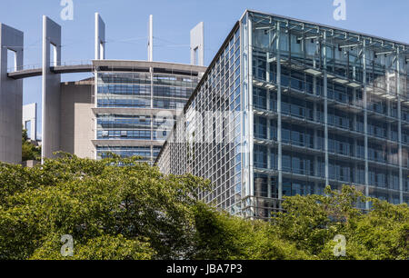 Parts of the European Parliament Building in Strasbourg, France, designed by AS.Architecture-Studio - Stock Photo