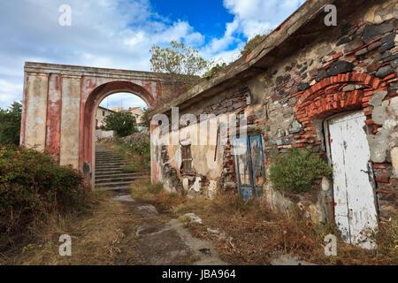 ruins of the island Capraia. Elba, Tuscany. Italy - Stock Photo