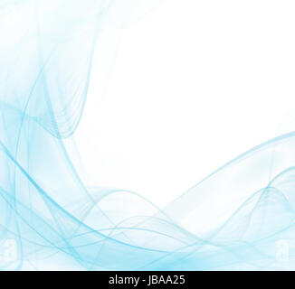White and blue abstract modern background with waving lines - Stock Photo