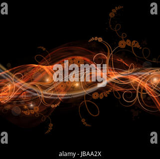 Abstract black and orange background with floral design - Stock Photo