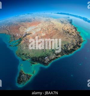 Highly detailed planet Earth in the morning. Exaggerated precise relief lit morning sun. Detailed Earth. Australia - Stock Photo