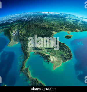 Highly detailed planet Earth in the morning. Exaggerated precise relief lit morning sun. Detailed Earth. Indochina - Stock Photo