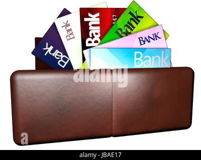 Multiple credit cards coming out of a wallet, isolated over white, 3d render - Stock Photo