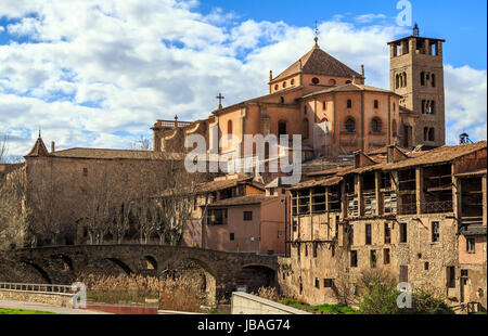 Vic, view of the Roman bridge and cathedral, Spain - Stock Photo