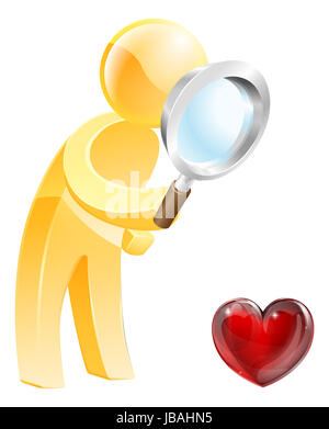 Looking for love concept of a person looking at a heart shaped symbol with a magnifying glass - Stock Photo