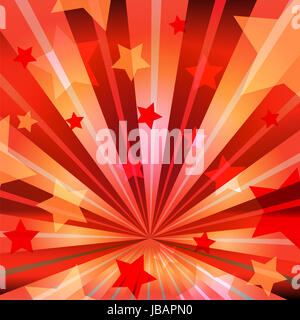 stars on a red background with radiating rays - Stock Photo