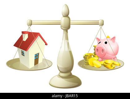 House money cales concept. Piggy bank on one side of a scale and a house on the other. Can have several meanings - Stock Photo