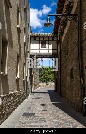 detail of the cobbled streets of Pamplona stone buildings and high Unions , Navarra, SPAIN. - Stock Photo