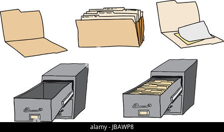 Folders, documents and filing cabinets over white background - Stock Photo