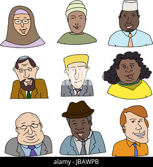 Happy faces of diverse business people over white background - Stock Photo