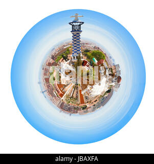 little planet - spherical panoramic Barcelona skyline from Park Guell, Spain isolated on white background - Stock Photo
