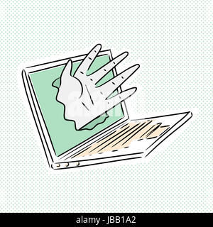 Hand reaching from laptop over dotted background - Stock Photo