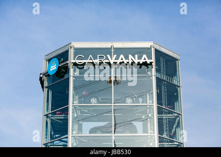 A Carvana car vending machine location in Houston, Texas, on May 27, 2017. - Stock Photo