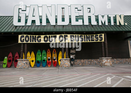 A 'Going Out Of Business' banner at a Gander Mountain retail store in Houston, Texas, on May 28, 2017. - Stock Photo