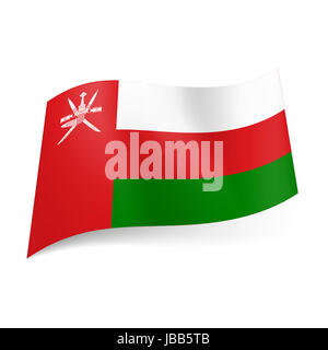 National flag of Oman: white, red and green horizontal stripes, vertical red band with national emblem on lest side - Stock Photo