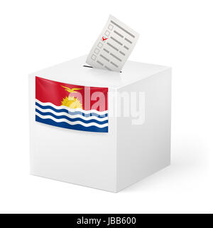 Election in Kiribati: ballot box with voting paper on white background - Stock Photo