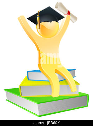 Graduate sitting on books with convocation scroll certificate and mortar board graduation cap - Stock Photo