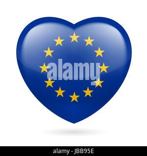 Heart with European Union flag colors. I love EU - Stock Photo