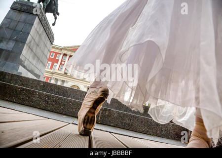 A ballet dancer performs a choreographic miniature from the repertoire of the 'Russian Seasons' of the Silver Age - Stock Photo