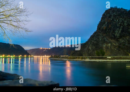 Lorelei cliff located on Rhein river, Germany - Stock Photo