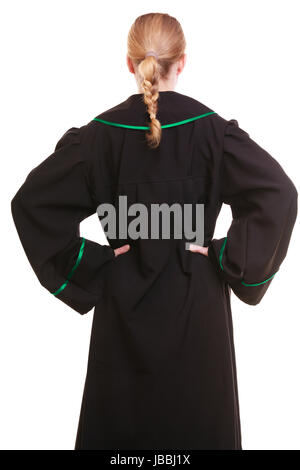 Law court or justice concept. Back view of woman lawyer attorney wearing classic polish (Poland) black green gown. - Stock Photo