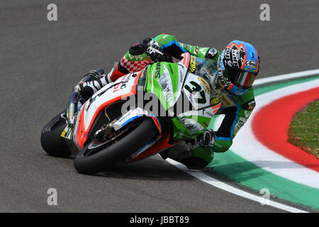 San Marino, Italy - May 12: Ondrej Jezek CZE Kawasaki ZX-10R Grillini Racing Team during qualifyng session at the - Stock Photo