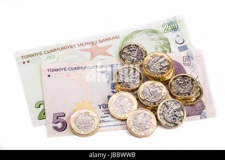 British and Turkish currency - Stock Photo