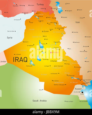 vector detailed map of Iraq country - Stock Photo