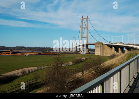 View of the Humber Bridge looking North - Stock Photo