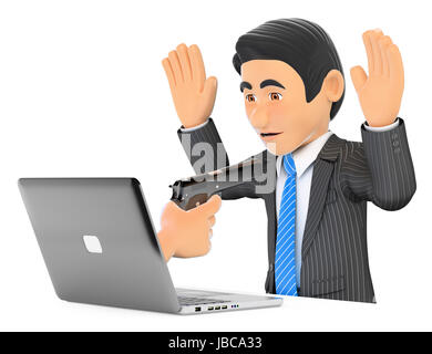 3d business people illustration. Businessman suffering a digital robbery. Ransomware. Isolated white background. - Stock Photo