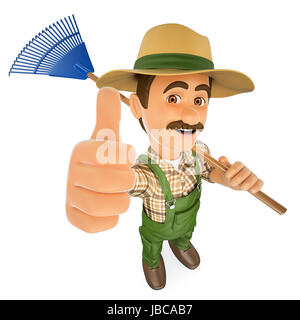 3d working people illustration. Gardener with a rake and thumb up. Isolated white background. - Stock Photo