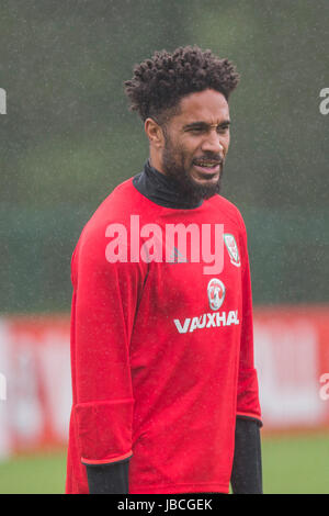 Hensol, Wales, UK. 10th June, 2017. Ashley Williams during Wales national team training ahead of the side's FIFA - Stock Photo