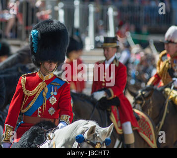 Horse Guards Parade, London, UK. 10th June 2017. His Royal Highness The Duke of Cambridge (pictured) takes the salute - Stock Photo