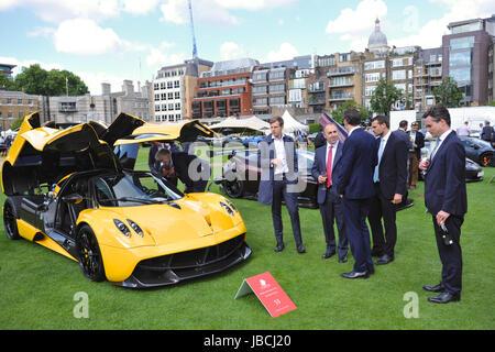 London, UK. 09th June, 2017. A Pagani Huayra, an Italian mid-engined sports car, on display at the inaugural City - Stock Photo