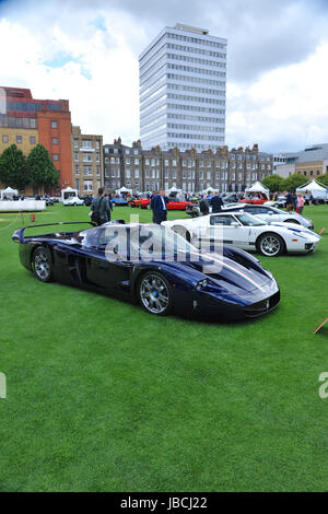 London, UK. 09th June, 2017. A 2006 Maserati MC12 on display at the inaugural City Concours Motoring Garden Party - Stock Photo