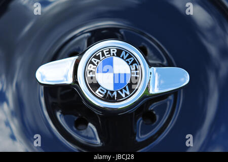 London, UK. 09th June, 2017. The petrol cap of a 1937 Frazer Nash BMW 328.  The car won the Best Classic Car award - Stock Photo