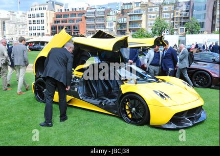 London, UK. 09th June, 2017. A Pagani Huayra, an Italian mid-engined sports car on display at the inaugural City - Stock Photo