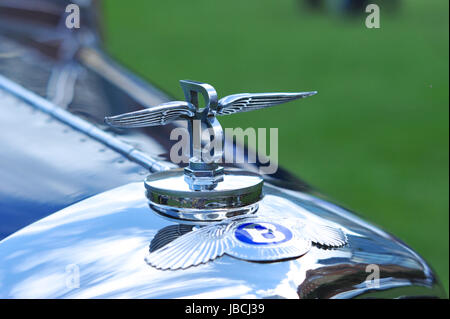 London, UK. 09th June, 2017. The mascot of a 1930 Bentley 4 Litre Open Sports Tourer.  The car was on display at - Stock Photo